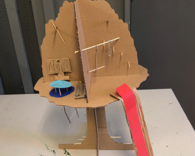 Maakbox boomhut vorm constructie verbinding
